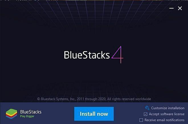 Bluestacks इंस्टॉल