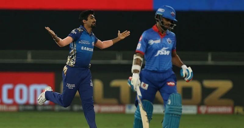 Jasprit Bumrah and Shikhar Dhawan. Pic: IPLT20.COM
