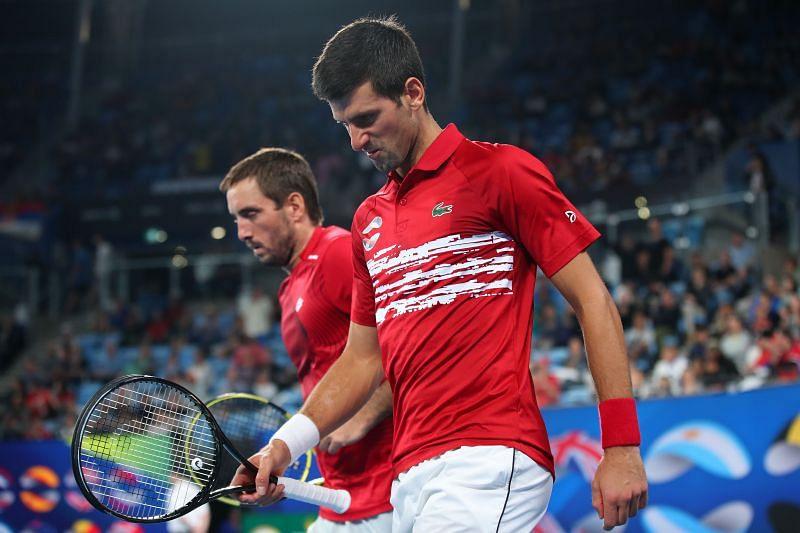 Viktor Troicki with Novak Djokovic at the 2020 ATP Cup