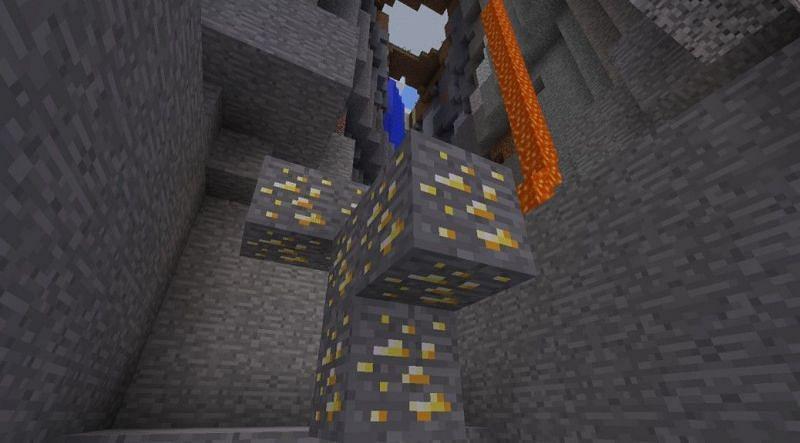 Ravine with exposed golden ore (Image via Pinterest)