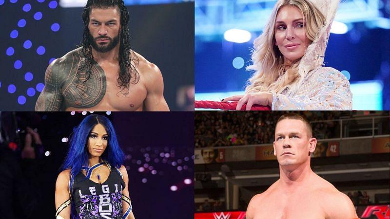 Roman Reigns, Charlotte Flair, Sasha Banks, and John Cena