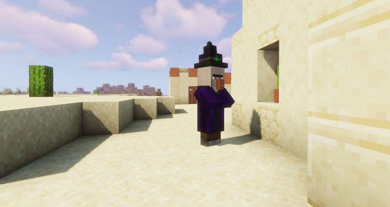 A villager or baby villager can turn into a witch if lightning strikes within four blocks of them (Image via Minecraft)