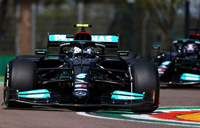Mercedes drivers Valtteri Bottas and Lewis Hamilton at the 2021 Imola GP practice. Photo: Bryn Lennon/Getty Images.
