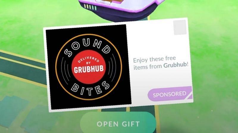 Grubhub ponsored gift (Image via Niantic)