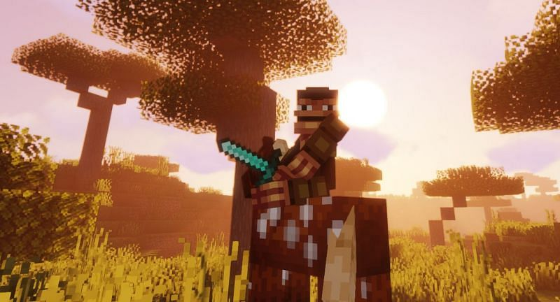 Shown: An armed Monke riding a horse, looking for his next victim (Image via Minecraft)