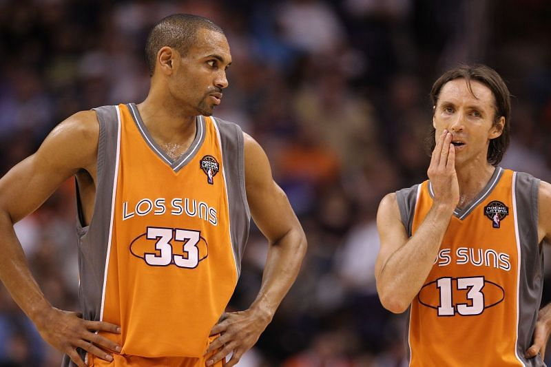 Grant Hill (#33) and Steve Nash #13 during the NBA game.