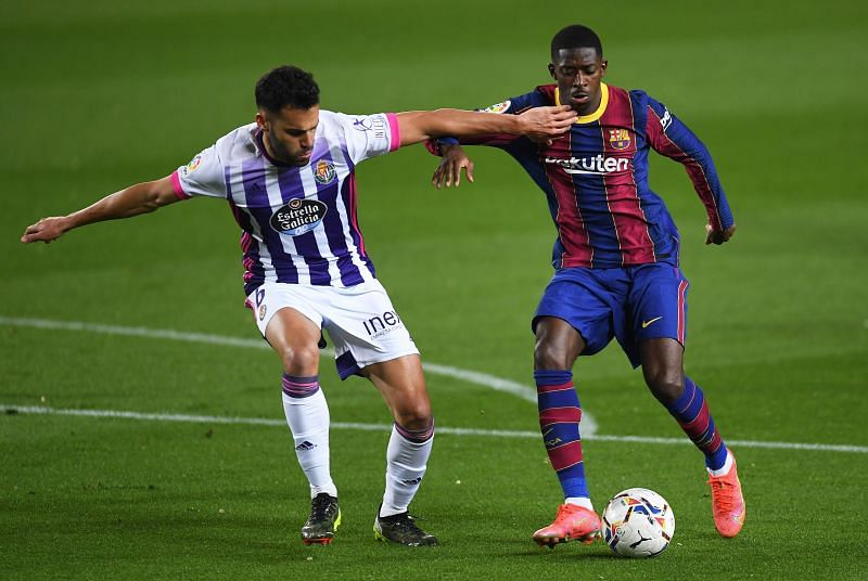 Ousmane Dembele, who has been linked with Juventus and Liverpool, in action for Barcelona