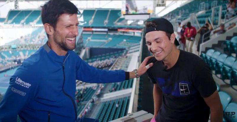 Novak Djokovic and Miomir Kecmanovic (R)