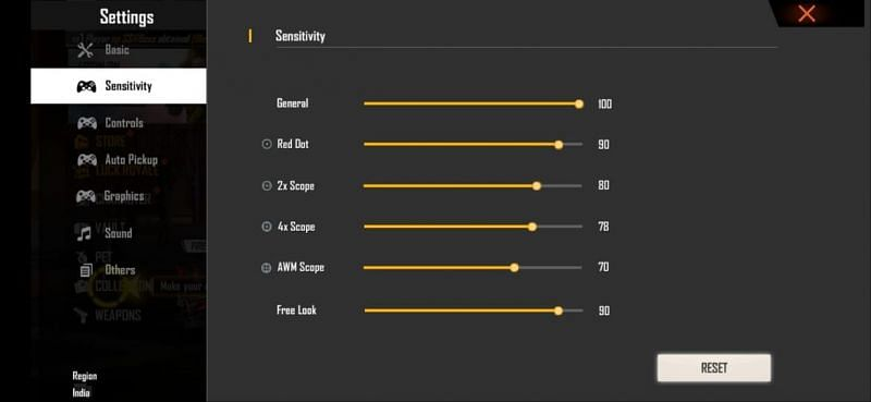 Best Free Fire sensitivity settings for easier recoil control