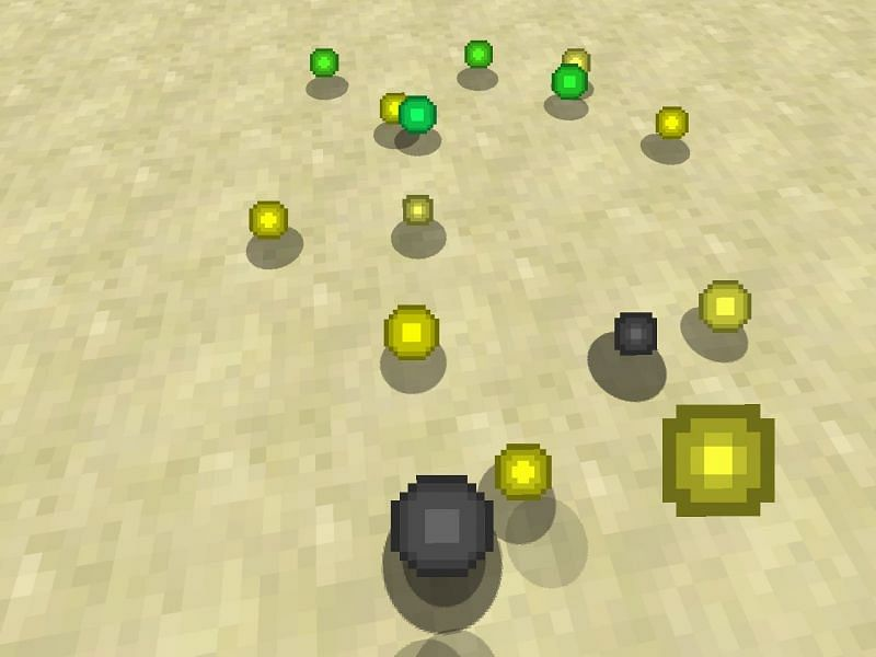 XP orbs ready to be collected by a player