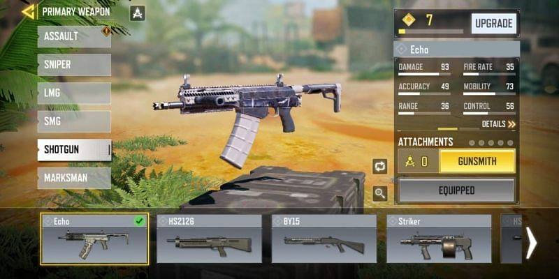 Stats of Echo in COD Mobile without any attachments equipped (Image via Activision)