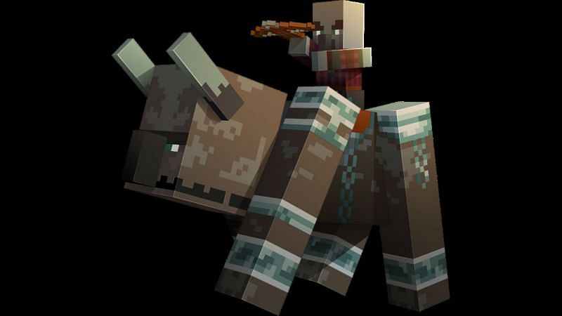 Ravager with a pillager on top (Image via Minecraft)