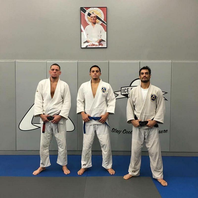 Nate Diaz with his Jiu-Jitsu team