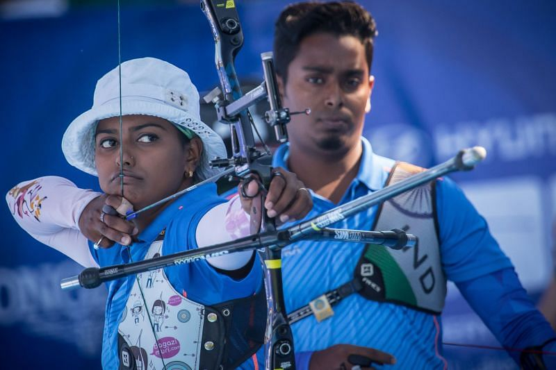 Atanu Das and Deepika Kumari (L) have made it to the semifinals at Archery World Cup Stage 1