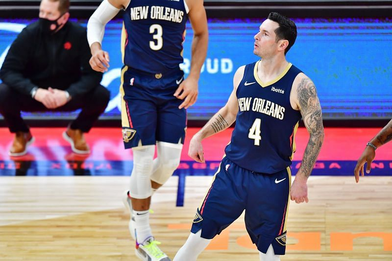 JJ Redick (#4) of the New Orleans Pelicans