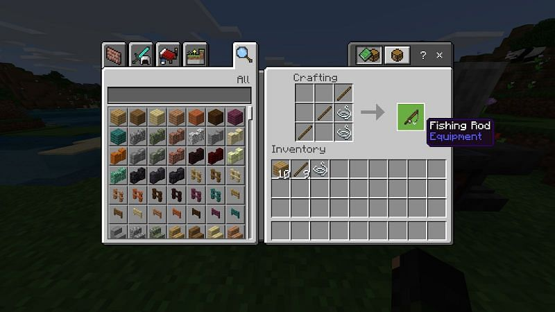 With your sticks and string, you can now craft a fishing rod. Head to a crafting table and place three sticks in a diagonal and place two pieces of string below the top-most stick.