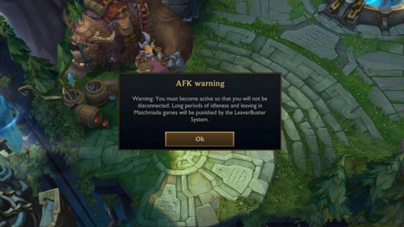 A regular AFK warning screen in League of Legends (Image via Riot Games)