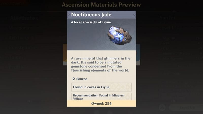 Noctilucous Jade is the local specialty for Yanfei ascension