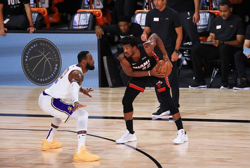 Jimmy Butler guarded by LeBron James in the 2020 NBA Finals.