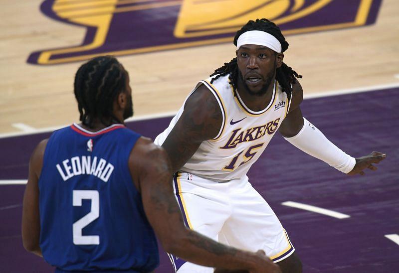 Montrezl Harrell #15 of the LA Lakers defends Kawhi Leonard #2 of the LA Clippers
