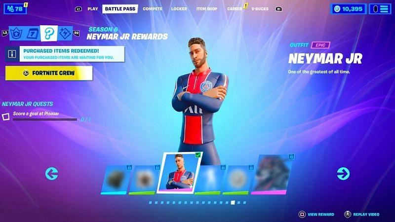 Neymar Jr concept skin in Fortnite Season 6 (Image Credits: CheatCode S)