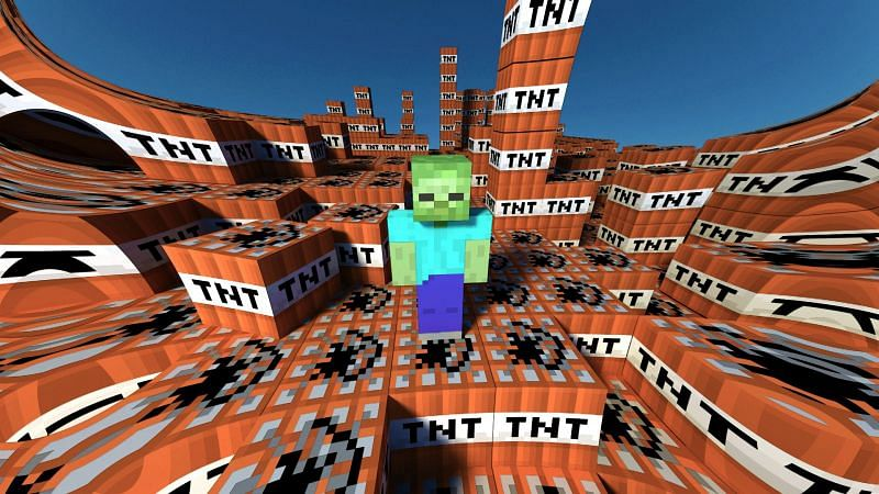 Minecraft TNT with a zombie (Image via wallpapersafari.com)