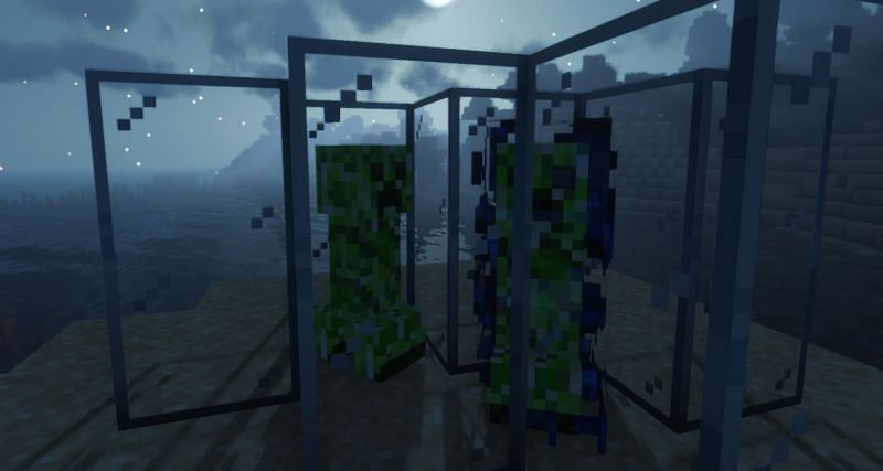 Shown: A Creeper and Charged Creeper side by side (Image via Minecraft)