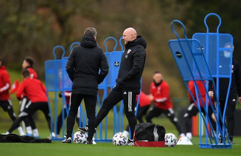 Ryan Giggs and Robert Page at a Wales training session.