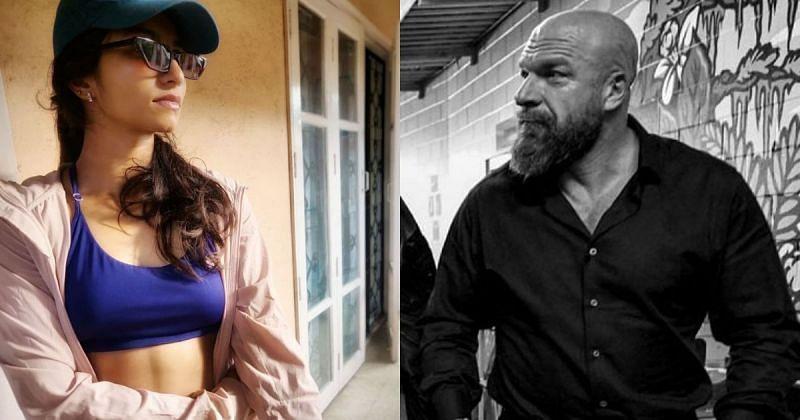 Sanjana George and Triple H.