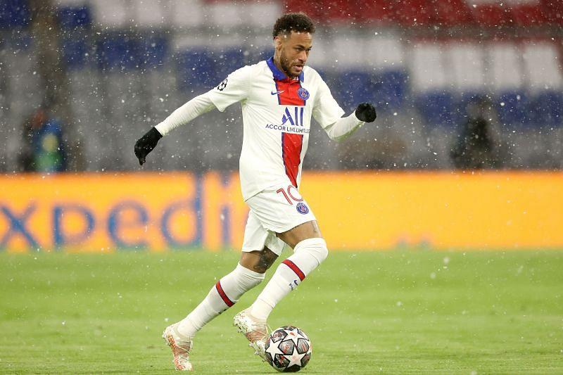 Neymar in action against Bayern Munich