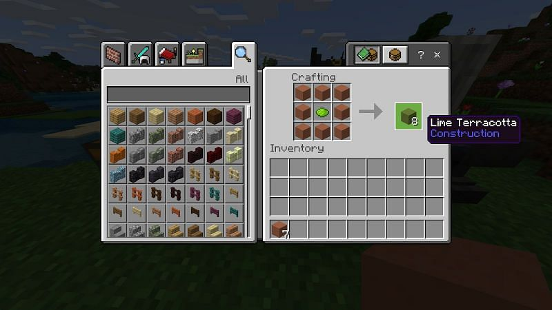 If you surround a piece of dye with 8 terracotta blocks you can stain those eight blocks with that specific color.