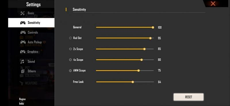 Best sensitivity settings for accurate headshots on low-end devices in Free Fire
