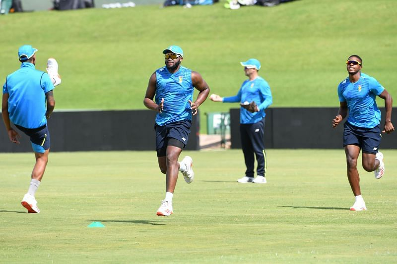 South African players practice ahead of the first ODI at SuperSport Park