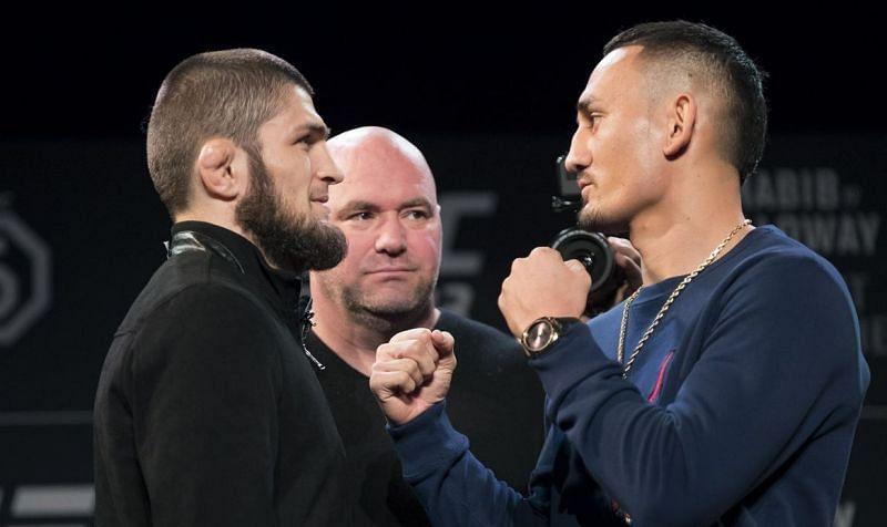 Khabib Nurmagomedov (left); Max Holloway (right)