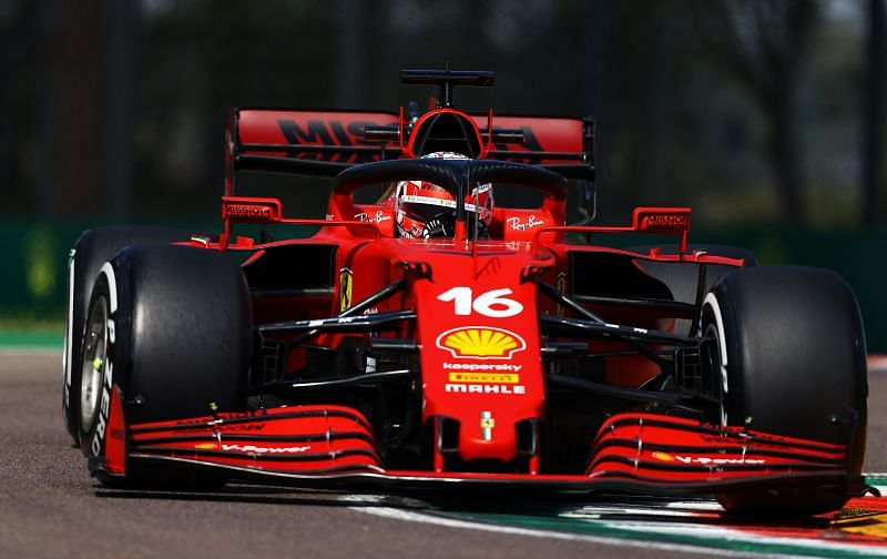Charles Leclerc of Ferrari driving the SF21 on track during practice ahead of the 2021 Imola GP. (Photo by Bryn Lennon/Getty Images)
