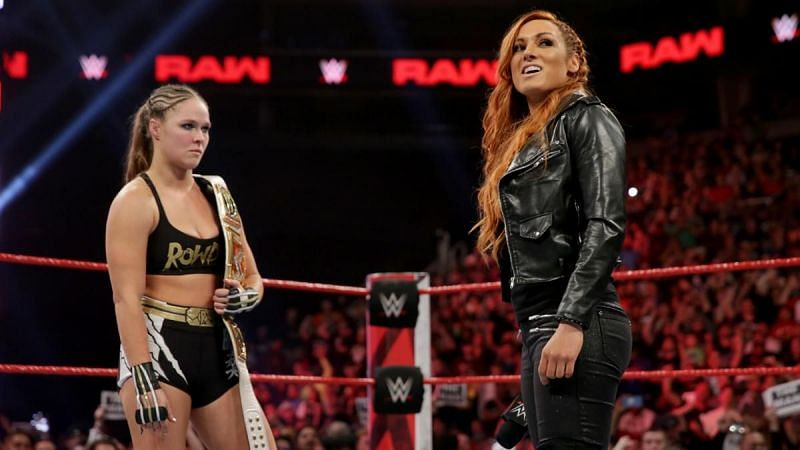 Ronda Rousey and Becky Lynch during their rivalry in 2019
