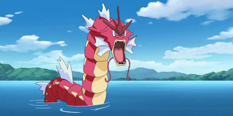 A shiny Gyarados in the anime (Image via The Pokemon Company)