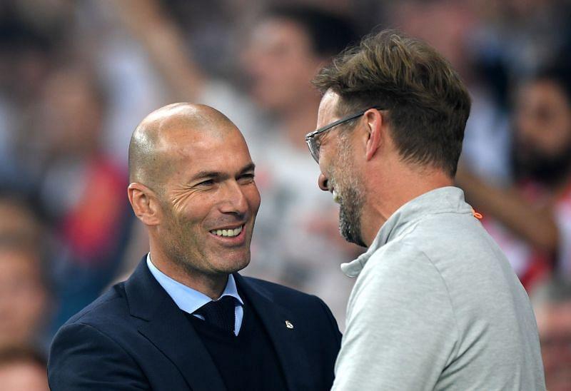 Real Madrid manager Zinedine Zidane and Liverpool manager Jurgen Klopp