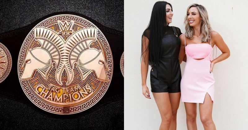 The old WWE tag team belt design, Billie Kay, and Peyton Royce.