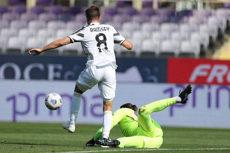 Aaron Ramsey in action against Fiorentina