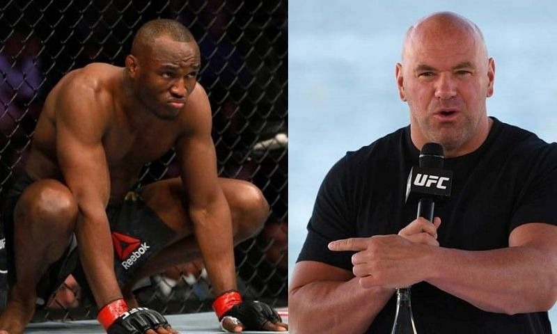 Kamaru Usman (left); Dana White (right)