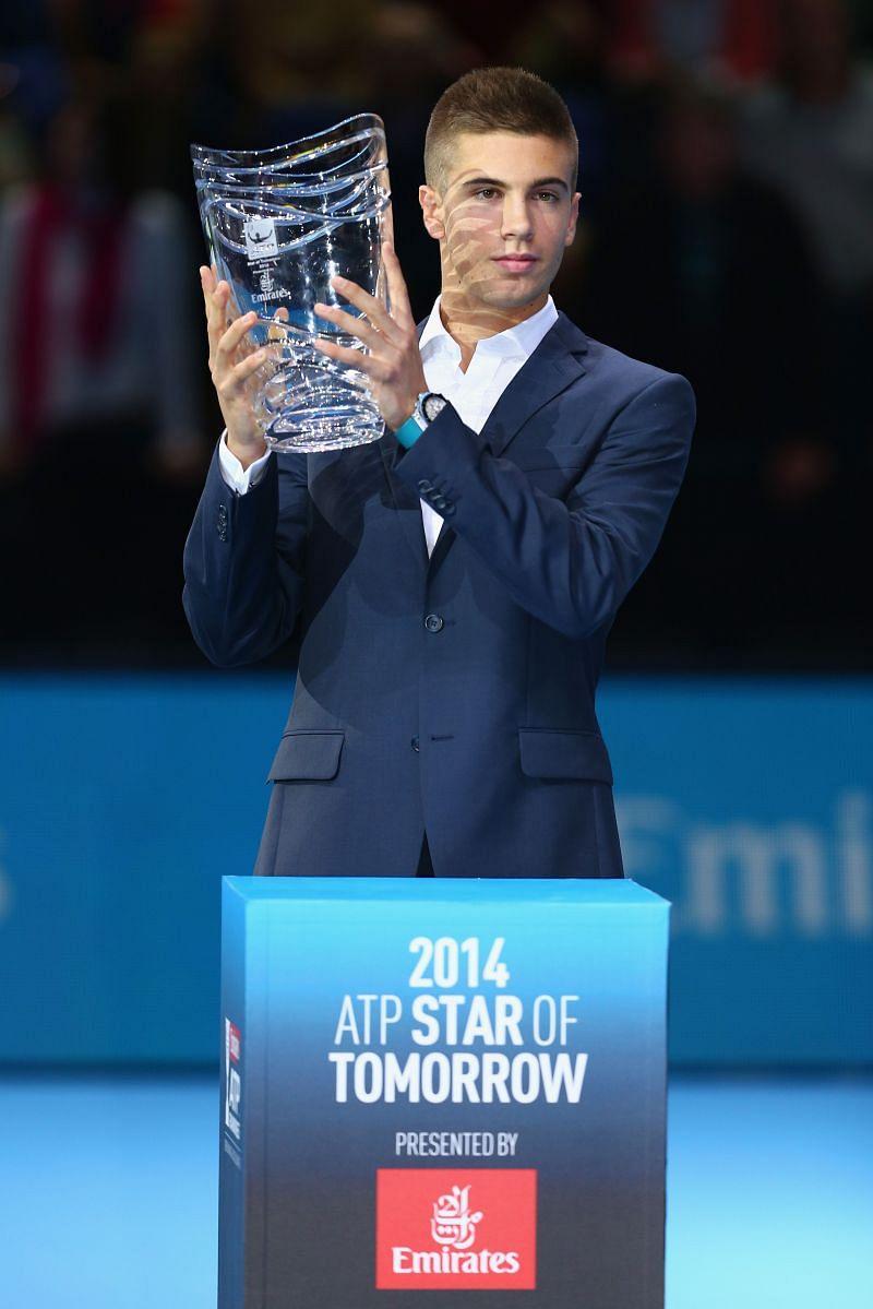 Borna Coric with the ATP Star of Tomorrow Award in 2014