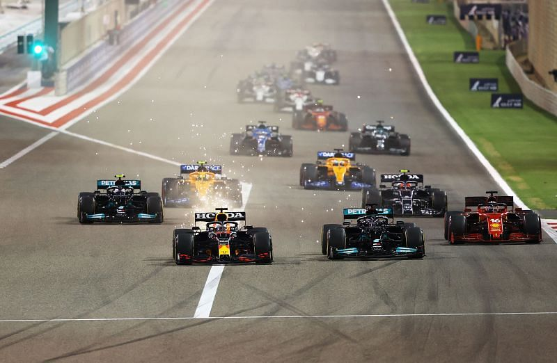 Lewis Hamilton narrowly beat Verstappen in Bahrain. (Photo by Bryn Lennon/Getty Images)