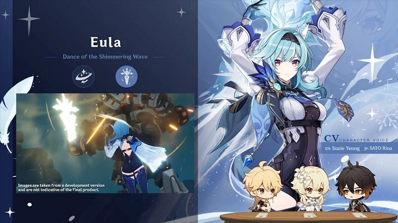 Eula using her Elemental Burst in the 1.5 livestream (image via Genshin Impact)