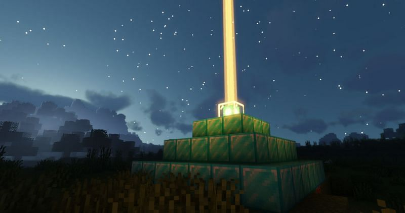 Shown: A beautiful Beacon made out of Diamond Blocks (Image via Minecraft)