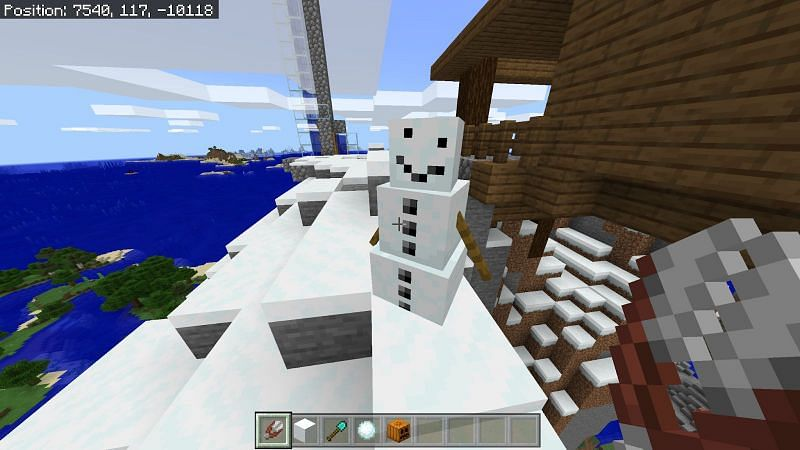 If you find the pumpkin unappealing you can use shears on the snow golem to reveal its face. You cannot place the pumpkin back on its head if you decide against this though, make your choice wisely.