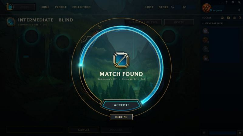 Matchmaking screen in League of Legends, where a player can opt for declining a match (Image via Riot Games)