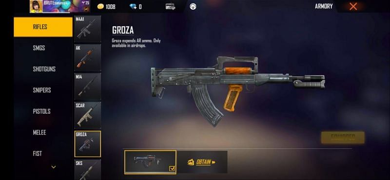 Groza can only be found in air drops