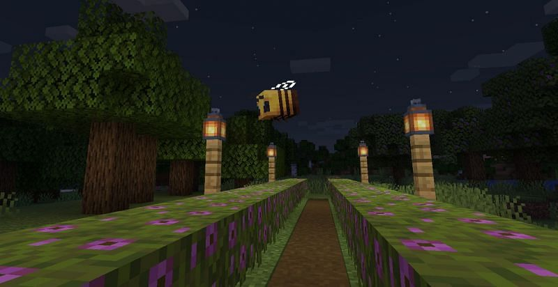 Shown: A Bee about to pollinate (Image via Minecraft)