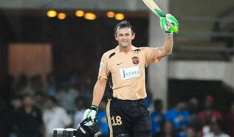 Adam Gilchrist celebrates after slamming the then-fastest IPL hundred (Image: Twitter)